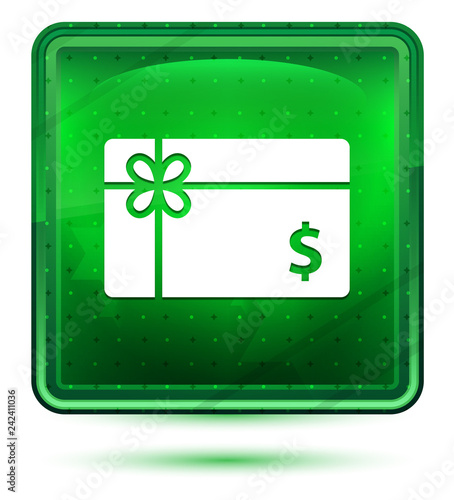 Gift card dollar sign icon neon light green square button
