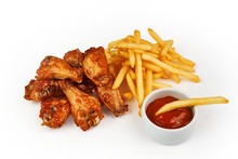 French Fries, Chicken And Tomato Sauce Isolated On White With Clipping Path