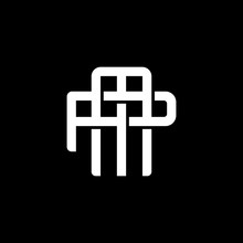 Initial Letter P And M, PM, MP, Overlapping Interlock Monogram Logo, White Color On Black Background