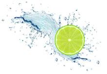 Lime Slice Water Splash Isolated On White