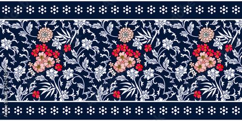 Fotografie, Obraz  Seamless blue white border with Chinese motifs.