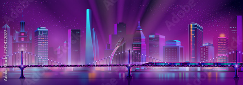 Poster Violet Vector modern megapolis background with bullet train on the bridge over the river. Speed railroad vehicle and purple glowing buildings. Urban skyscrapers in neon colors, town exterior.