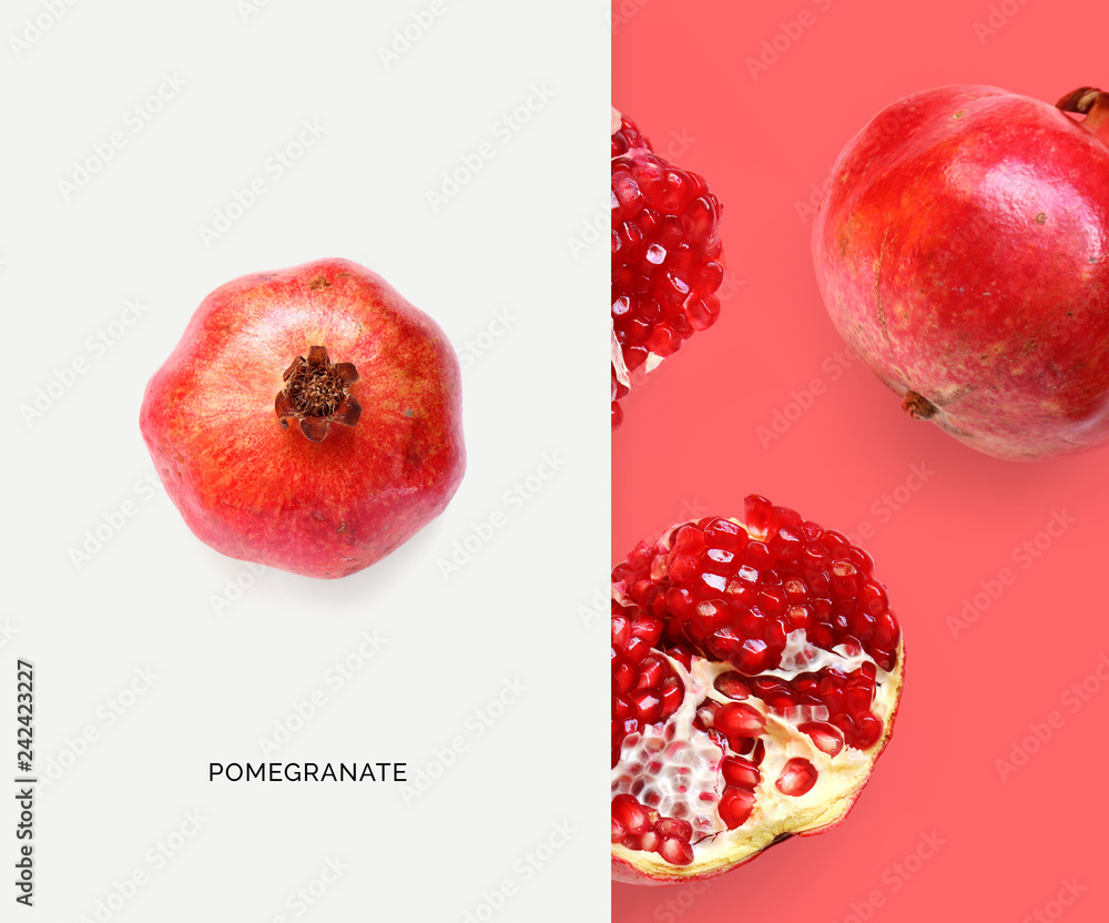 Fototapety, obrazy: Creative layout made of pomegranate. Flat lay. Food concept. Macro concept.
