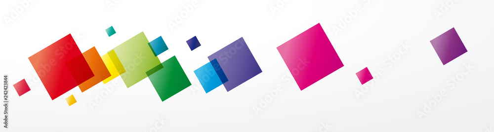 Fototapety, obrazy: Vector abstract background rainbow squares and pixel. Header and banner