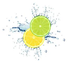 lime and lemon slice water splash isolated on white
