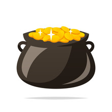 Pot Of Gold Coins Vector Isola...