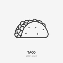 Taco Flat Line Icon. Vector Thin Sign Of Mexican Food. Traditional Meal Wrap In Tortilla Illustration
