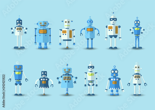 Foto Retro vintage funny vector robot set icon in flat style isolated on blue background