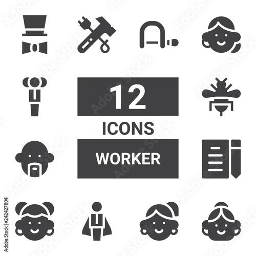 Photo  worker icon set