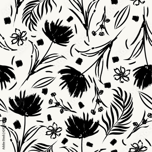 Foto auf Gartenposter Künstlich Black and whie Silhouette flower moderrn style Hand brush painting seamless pattern vector for fashion fabric,and all prints