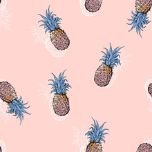 Summer Sweet Pastel Pineapple Hand Drawn With Shadow Seamless Pattern Vector For Fashion ,fabric,wallpaper And All Prints