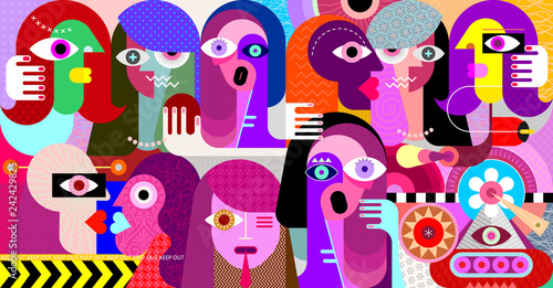 Poster Abstractie Art Group of strange people vector illustration