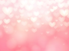 Abstract Heart Pink Light Or Bokeh Background. Valentine Day Concept