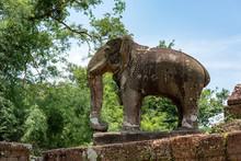 Elephant Statue At Corner Of East Mebon