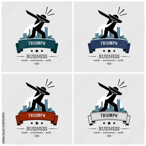 Photo Successful businessman dabbing logo design