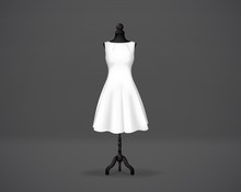 Women's White Basic Dress Mockup On Mannequin. Festive Dress Without Sleeves And Long Pleated Skirt.