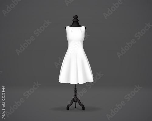 Tela Women's white basic dress mockup on mannequin