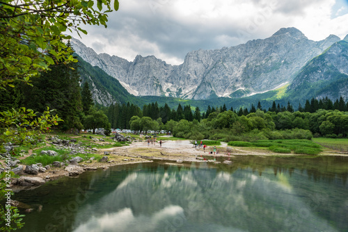 Poster Taupe Upper Lake of Fusine. Emerald waters. Tarvisio to be discovered. Friuli