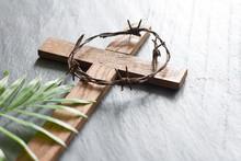 Easter Wooden Cross On Black M...