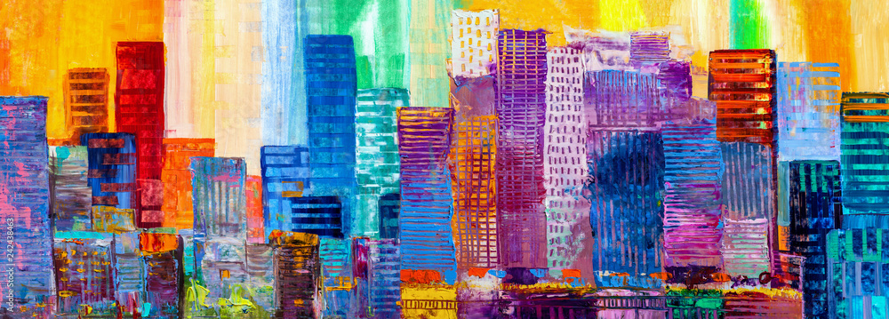 Fototapeta Abstract painting of urban skyscrapers.