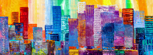 Abstract painting of urban skyscrapers. - 242438463
