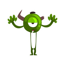 Funny One Eyed Green Monster, Horned Fabulous Creature Cartoon Character Vector Illustration