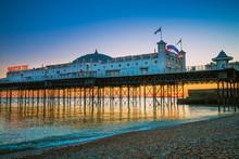 Brighton Pier Beach With Sunse...