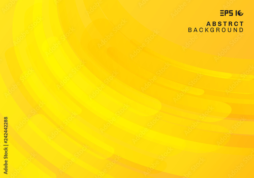 Fototapety, obrazy: Abstract yellow geometric background and dynamic curve fluid motion shapes composition.