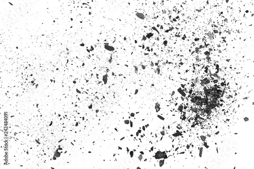 Valokuvatapetti Black charcoal dust, gunpowder explosion texture isolated on white background, t