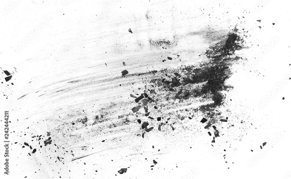 Fototapety, obrazy: Black charcoal dust, gunpowder explosion texture isolated on white background, top view
