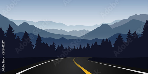 road curve in forest and mountain landscape at dawn vector illustration EPS10