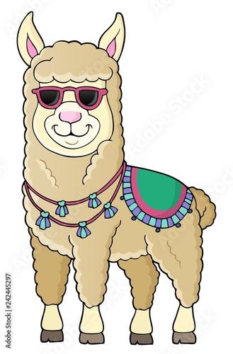 Keuken foto achterwand Voor kinderen Llama with sunglasses theme image 1