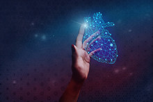 Human Forefinger Touches Blue Heart Innovative Technologies. Nebula Dust  In Infinite Space. Mixed Media.