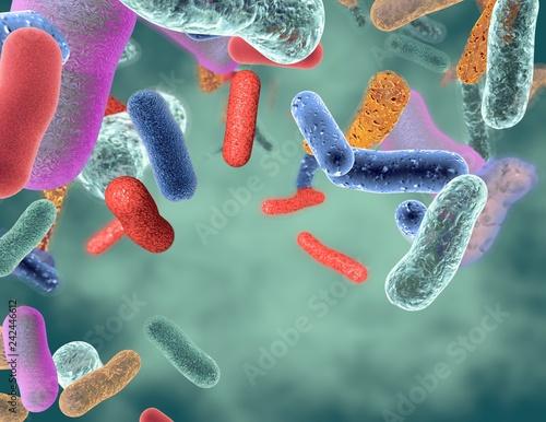 Fotografia  Gut healthy bacteria 3d illustration.