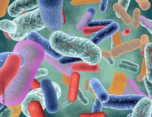 Beneficial healthy intestinal bacterium microflora 3d render.