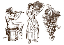 Satyr Sitting On The Barrel, Beautiful Peasant Woman Carrying Basket And Bunch Of Grapes. Design Elements For Wine List. Hand Drawn Vector Illustration Isolated On White Background.