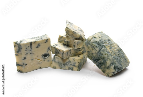 Blue cheese slices isolated on white background