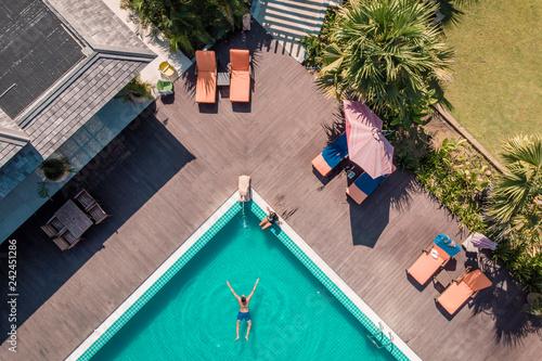 drone view pool man swimming pool Myanmar Asia Canvas Print