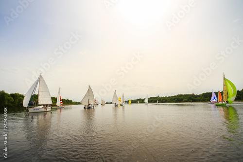 Staande foto Zeilen lot of sail boats on regatta with sails on