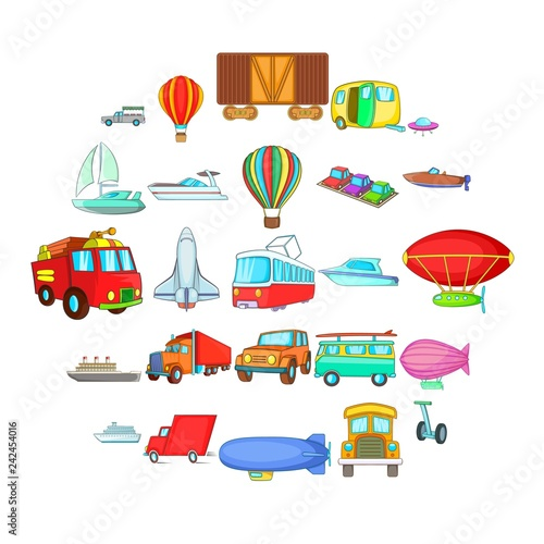 Garden Poster Cartoon cars Getting around the world icons set. Cartoon set of 25 getting around the world vector icons for web isolated on white background