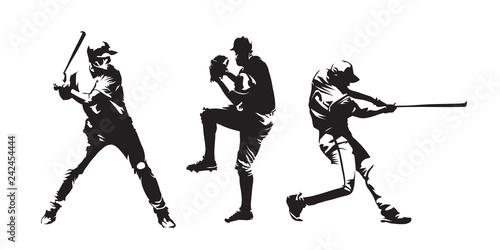 Photo Set of baseball players vector silhouettes