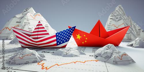 Fotografie, Obraz  Handelsstreit USA China