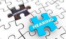 Hearing Vs Listening Words Puzzle Piece Hole 3d Illustration