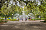 Fototapeta Sawanna - Fountain at the Forsyth Park in Savannah, GA