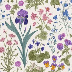 Panel Szklany Podświetlane Florystyczny Seamless floral pattern. Garden by day. Vector vintage botanical illustration.