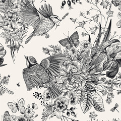 Panel Szklany Do salonu Seamless floral pattern. Tits, flowers, butterflies. Vector vintage botanical illustration. Black and white