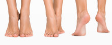 Set Of Female Feet From Different Directions Isolated On White