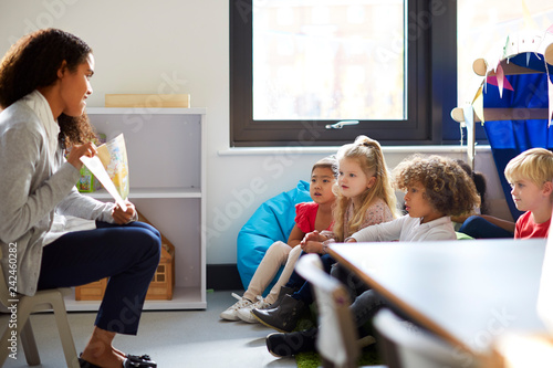 Side view of a female kindergarten teacher sitting on a