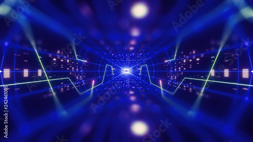 3d render, colorful neon virtual reality tunnel, abstract geometric background. Virtual data with neon blue lines and dots. Player begins the VR game. VR experience. View with depth of field.