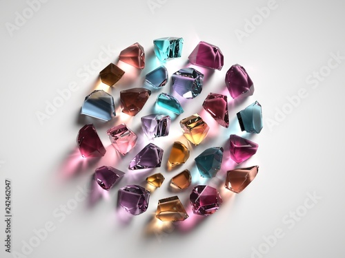 Photo  3d render, assorted colored spiritual crystals isolated on white background, fas